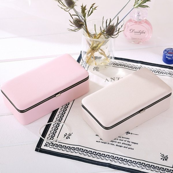 Portable Travel Solid Color PU Leather Jewelry Display Storage Box