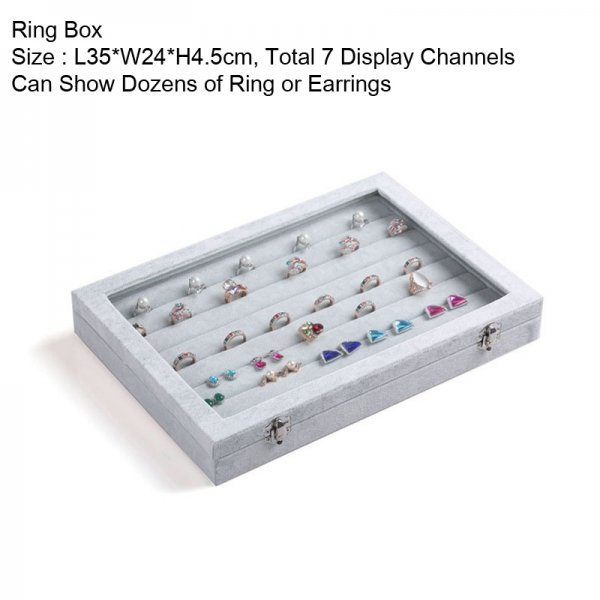Booths Velvet Gray Carrying Case with Clear Cover Jewelry Ring Display Box