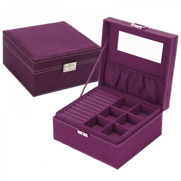 Cheap Price Square Velvet Two Layers Jewelry Box With Mirror