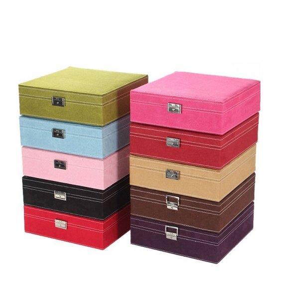 Fashion Velvet Square Simple Layout Makeup Ring Necklace Storage Box