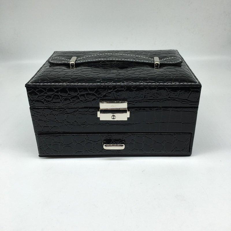 Crocodile Pattern Two Layers PU Leather Jewelry Storage Box With Mirror