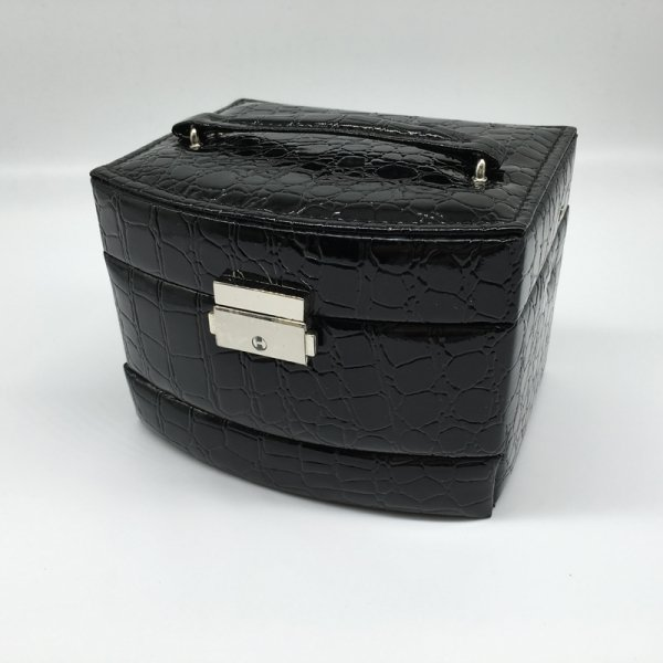 Exquisite With Lock Three-Layer PU Leather Portable Fashion Jewelry Box