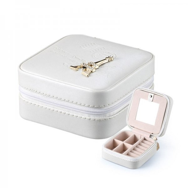 Mini Portable Stud Earrings Rings PU Leather Travel Jewelry Box With Mirror