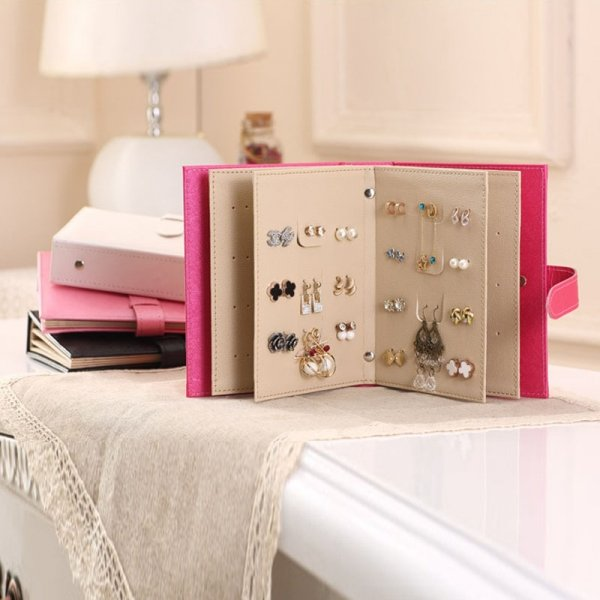 Useful Portable Travel Women's Mini Makeup Stud Earrings Rings Jewelry Box