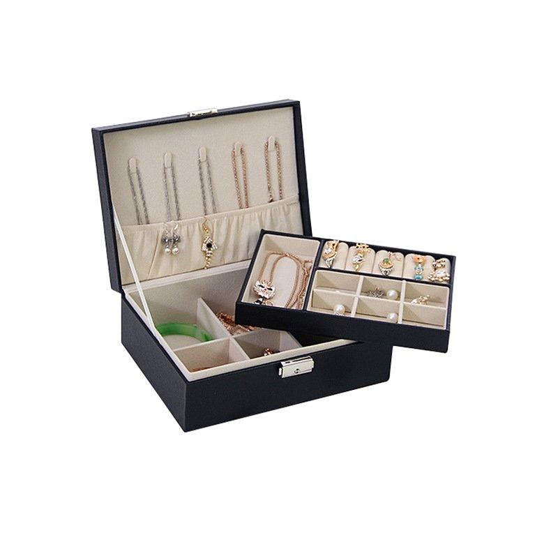 PU Leather Small Two Layer Jewelry Box Storage Case