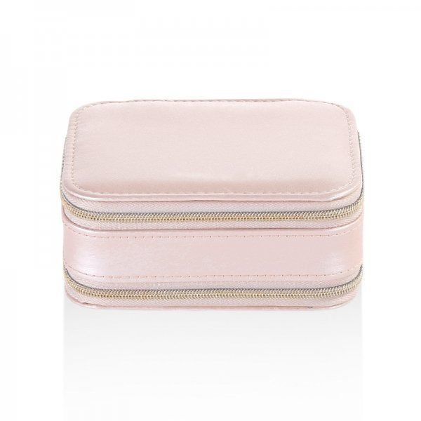 Portable Zipper Travel Small Two Layer Jewelry Storage Box With Mirror