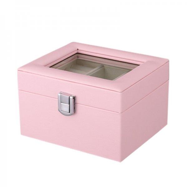 Luxury Clear Display Window PU Jewelry Box For Ladies Birthday Gift