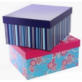 Corrugated paper printed lid and base box