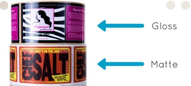 glossy and matte sticker label