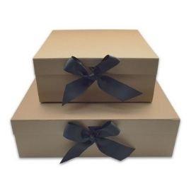 Kraft lid and base box with ribbon