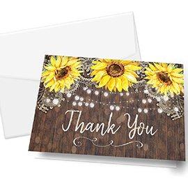 sunflower design thank you card