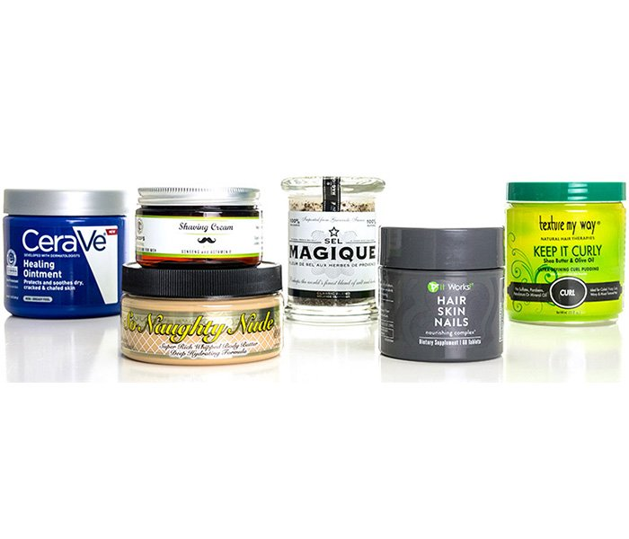beauty labels on jar