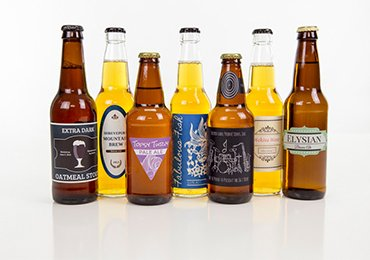 different shapes of drink labels
