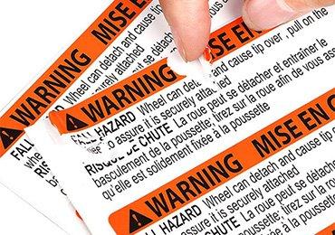 Warning Caution Eggshell Stickers